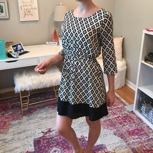 Everly Aztec Black and White Print Dress